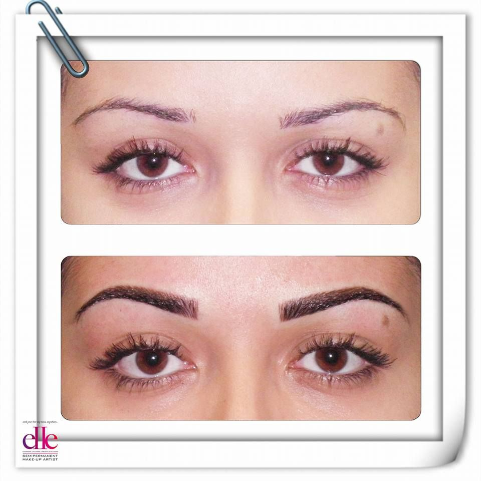 Before And After Semipermanent Makeup Procedure With Espresso And