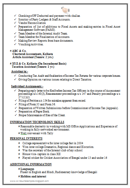 fixed asset accountant sample resume professional experienced chartered accountant resume sample - Sample Of Resume Format
