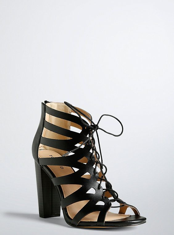Wide Lace Up Block Heels in Beige/Tan - Wide Width | Block heels ...