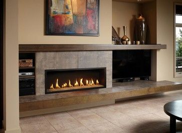 A Long Gas Fireplace Gas Fireplace Shown With The Black
