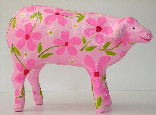 Rosy-the pink sheep paper mashe 18cm long