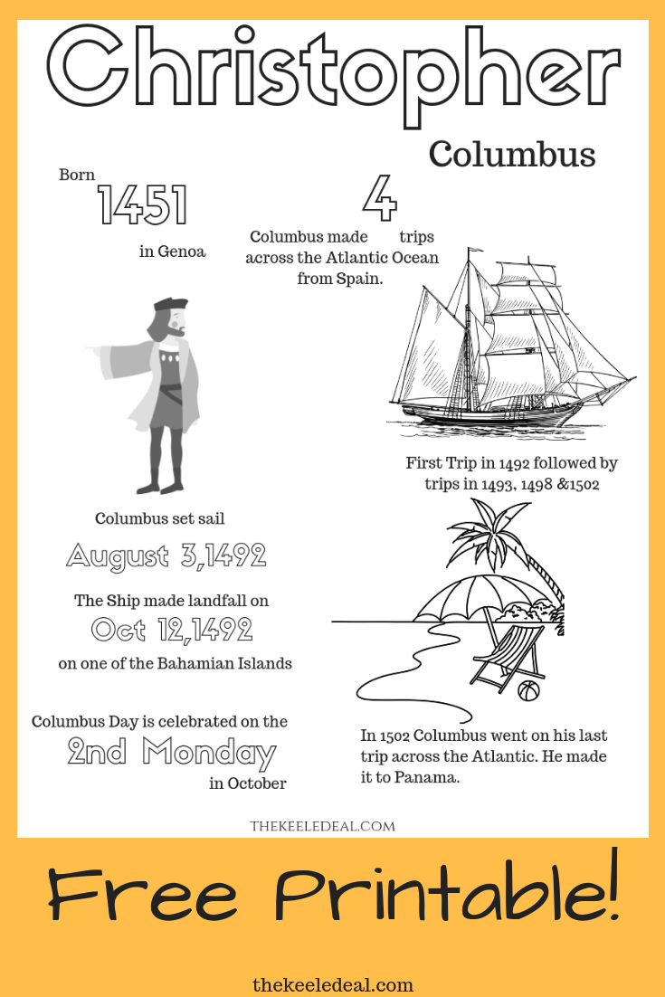Free Printable Christopher Columbus Coloring Page This Coloring Page Includes Christopher Columbus Activities Christopher Columbus Christopher Columbus Facts