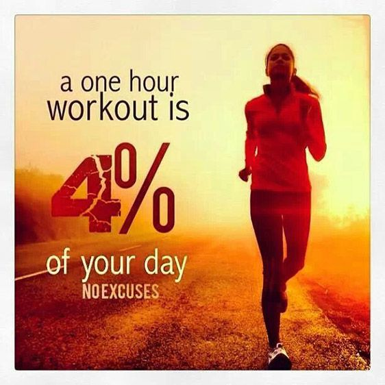 a one hour workout is 4% of your day. No excuses   Fitness Quotes IMG
