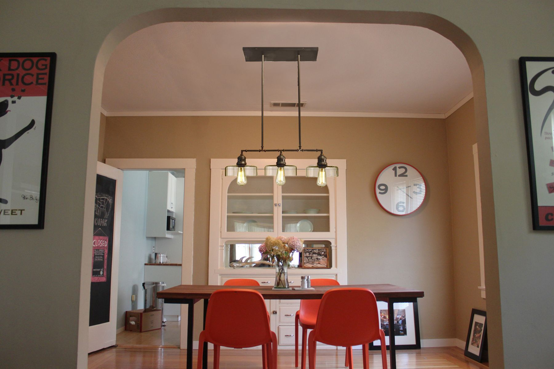 Dining room photoshopped with Atwell Pendant Crate & Barrel
