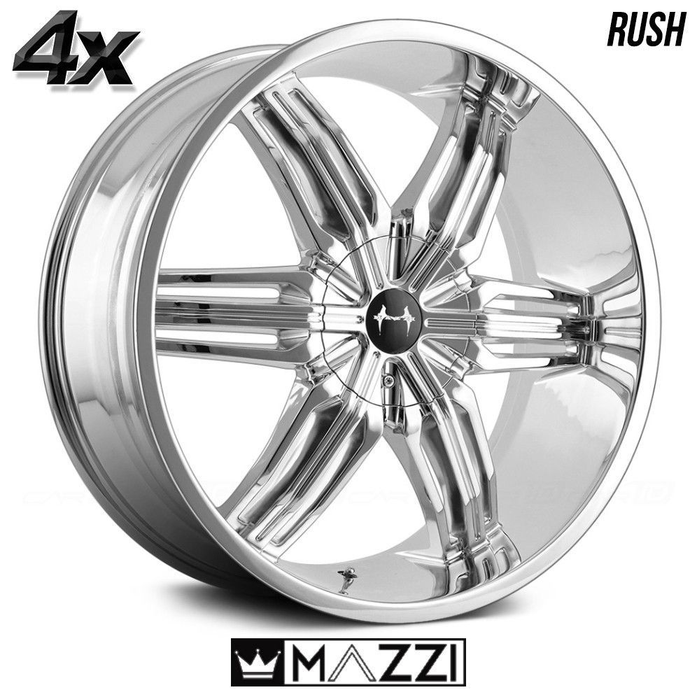 4 Mazzi Rush 20 X8 5 5x139 7 Chrome Ofst 18mm 20inch Rims 20x8 5 Wheels Chrome Wheels Chrome Aftermarket Wheels