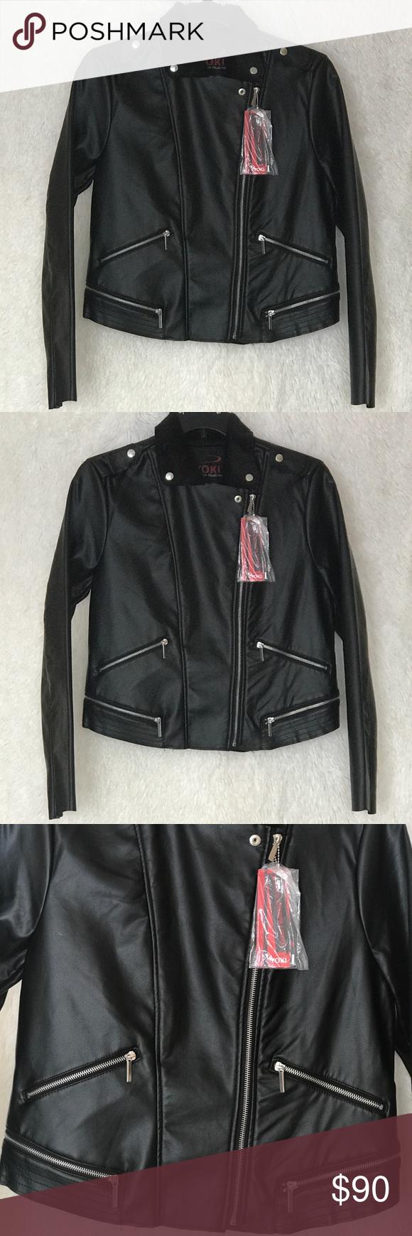 Yoki Faux Fur Leather Black Moto Coat Size Xl Black Faux Leather Jacket Fur Leather Jacket Fashion [ 1740 x 580 Pixel ]