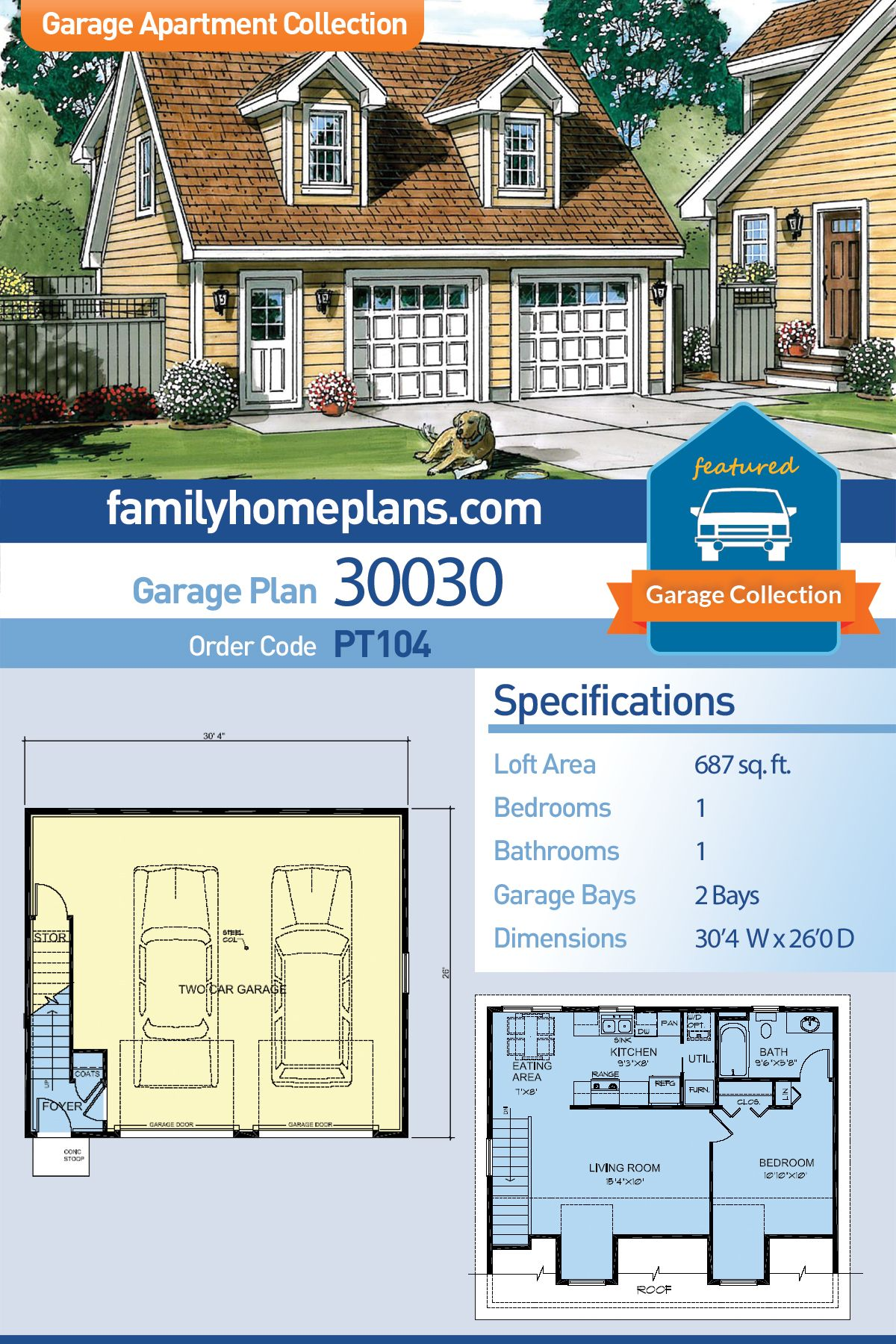 Saltbox Style 2 Car Garage Apartment Plan Number 30030 With 1 Bed 1 Bath Building A Garage Garage Loft Garage Apartments