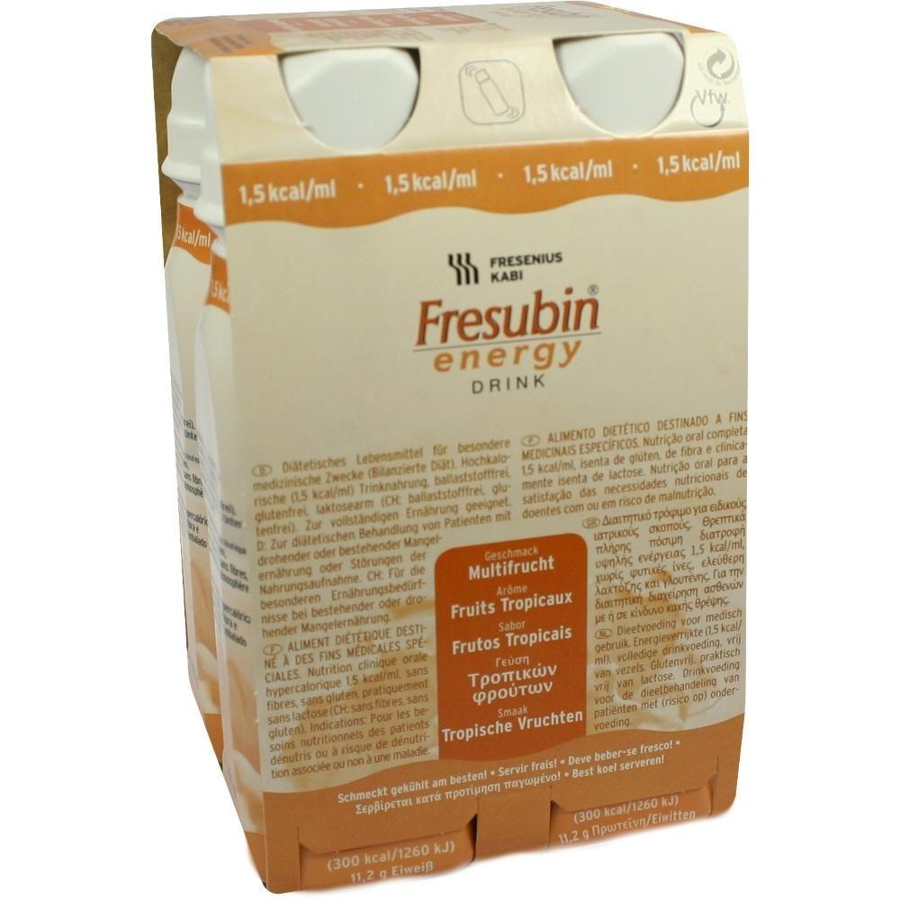 FRESUBIN ENERGY Drink Multifrucht Trinknahrung:   Packungsinhalt: 4X200 ml Lösung PZN: 03692702 Hersteller: Fresenius Kabi Deutschland…