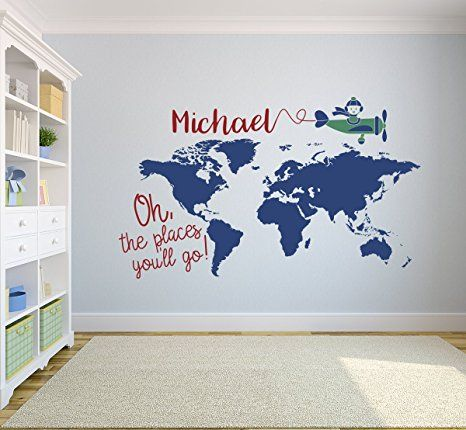 Custom world map name wall decal nursery airplanes theme decor art custom world map name wall decal nursery airplanes theme decor art on sale gumiabroncs Gallery
