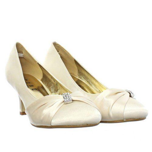 Womens Low Kitten Heel Bridal Wedding Ivory Shoes SIZE 3 8 Amazon