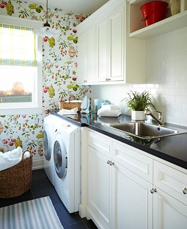 No To The Wallpaper But I Love The Counter Being Same Height Over Machines And Sink Laundry Room Wallpaper Sarah Richardson Laundry In Bathroom