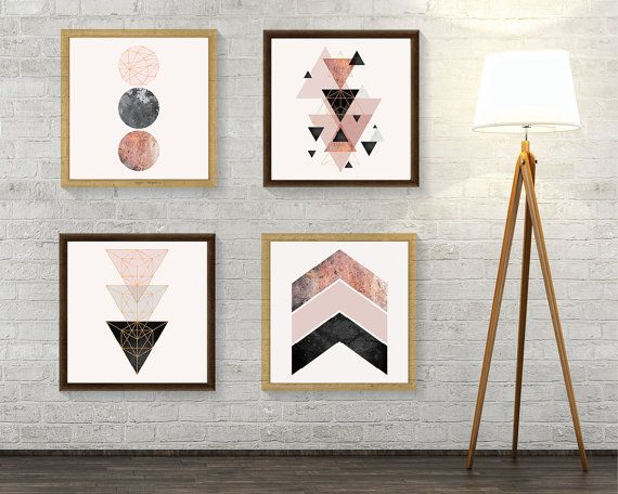 Set Of 4 Downloadable Geometric Prints In Blush Pink Rose