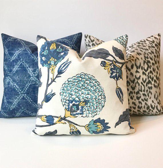 Awe Inspiring Modern Gray Teal Blue And Yellow Floral Decorative Pillow Short Links Chair Design For Home Short Linksinfo