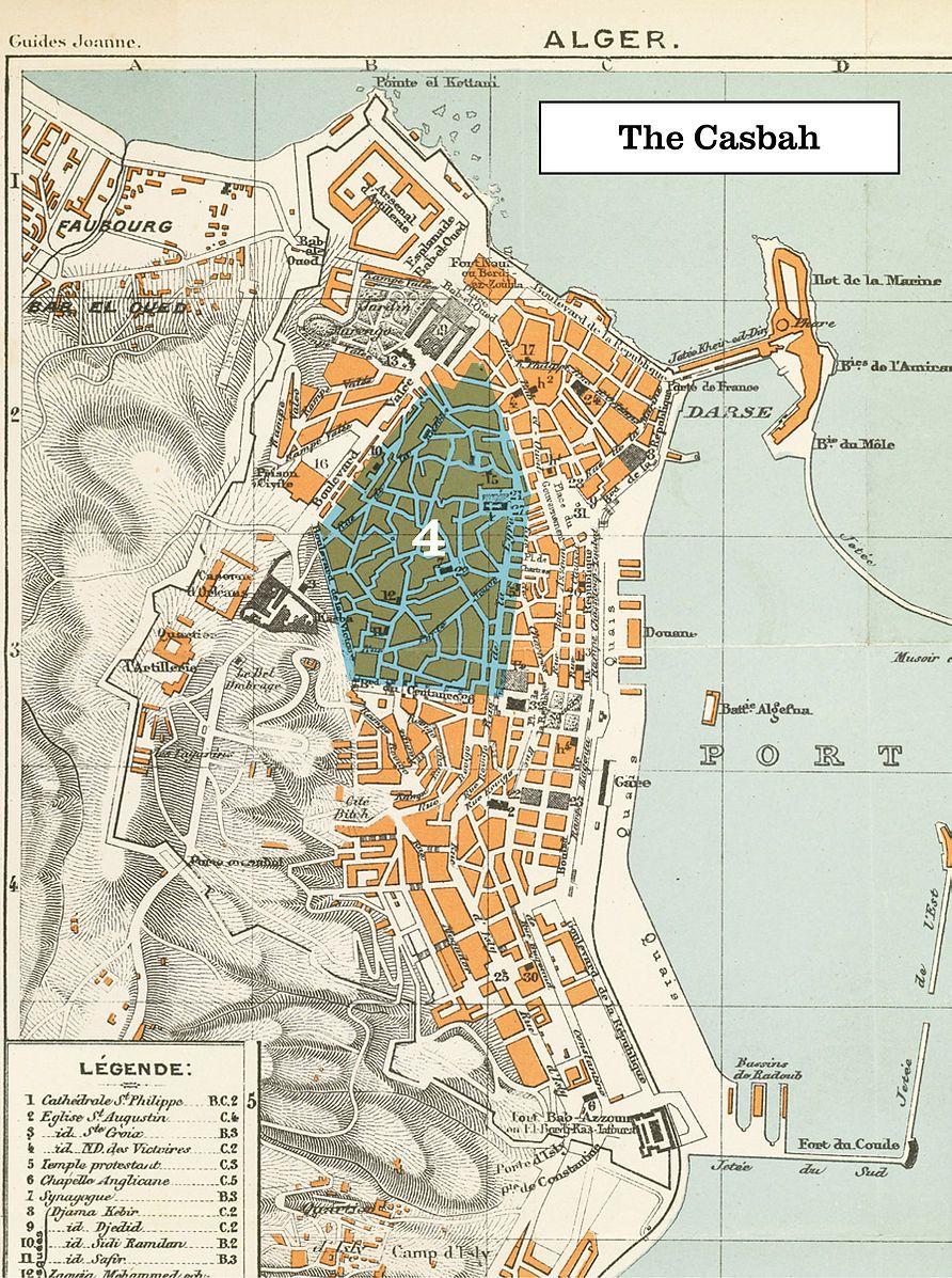 Map of Algiers Casbah 1888 algeria map algiers maps