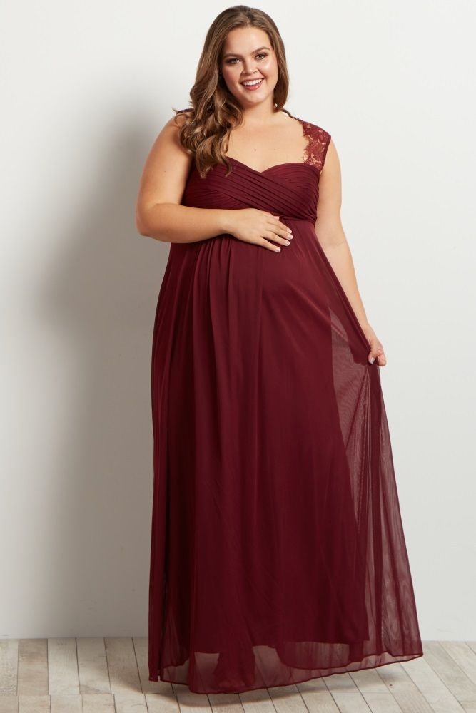 Burgundy Lace Accent Chiffon Maternity Plus Evening Gown | Pinterest ...