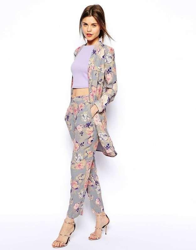 Trajes de fiesta de pantalón para mujer: fotos de los modelos - Traje  floral Asos