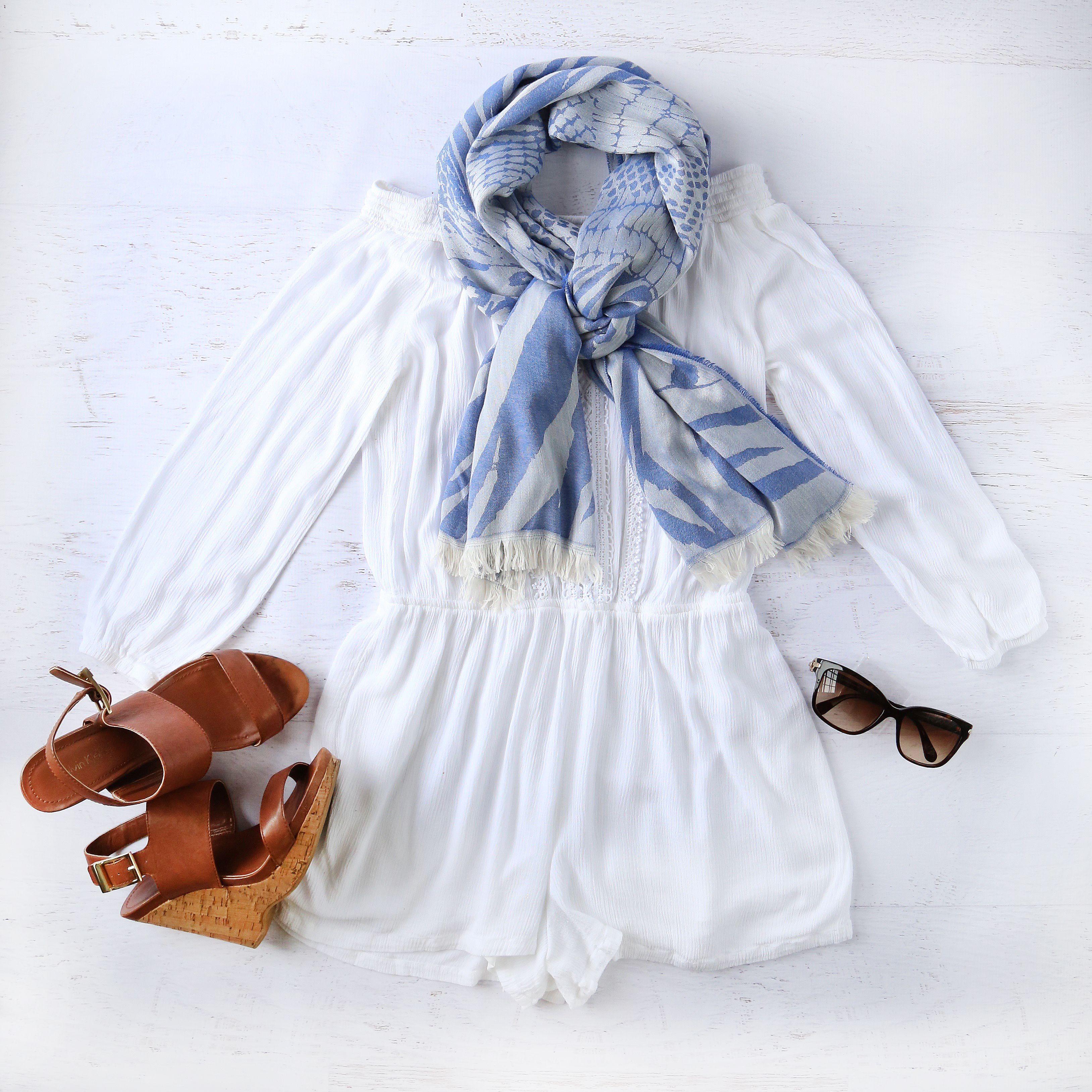 5dab1b4451fb2 AVvOLTO Blue Zebra Patchwork Scarf | Scarves | #OOTD | Ruffle blouse ...