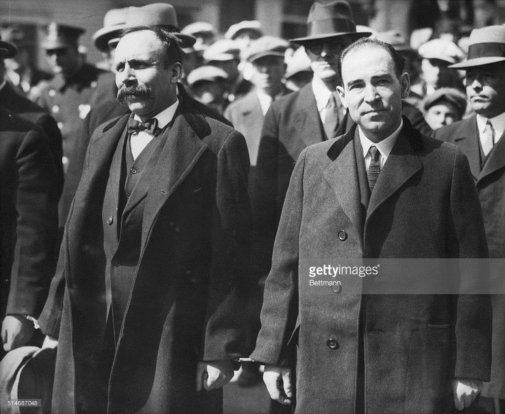 On August 23, 1927, the Commonwealth of Massachusetts executed Nicola Sacco (right) and Bartolomeo Vanzetti. They were found guilty of murdering a shoe factory paymaster and guard. At the time there was an anti-immigrant movement in the United States. There was also widespread doubt about their guilt and led to an international campaign to stop their executions.