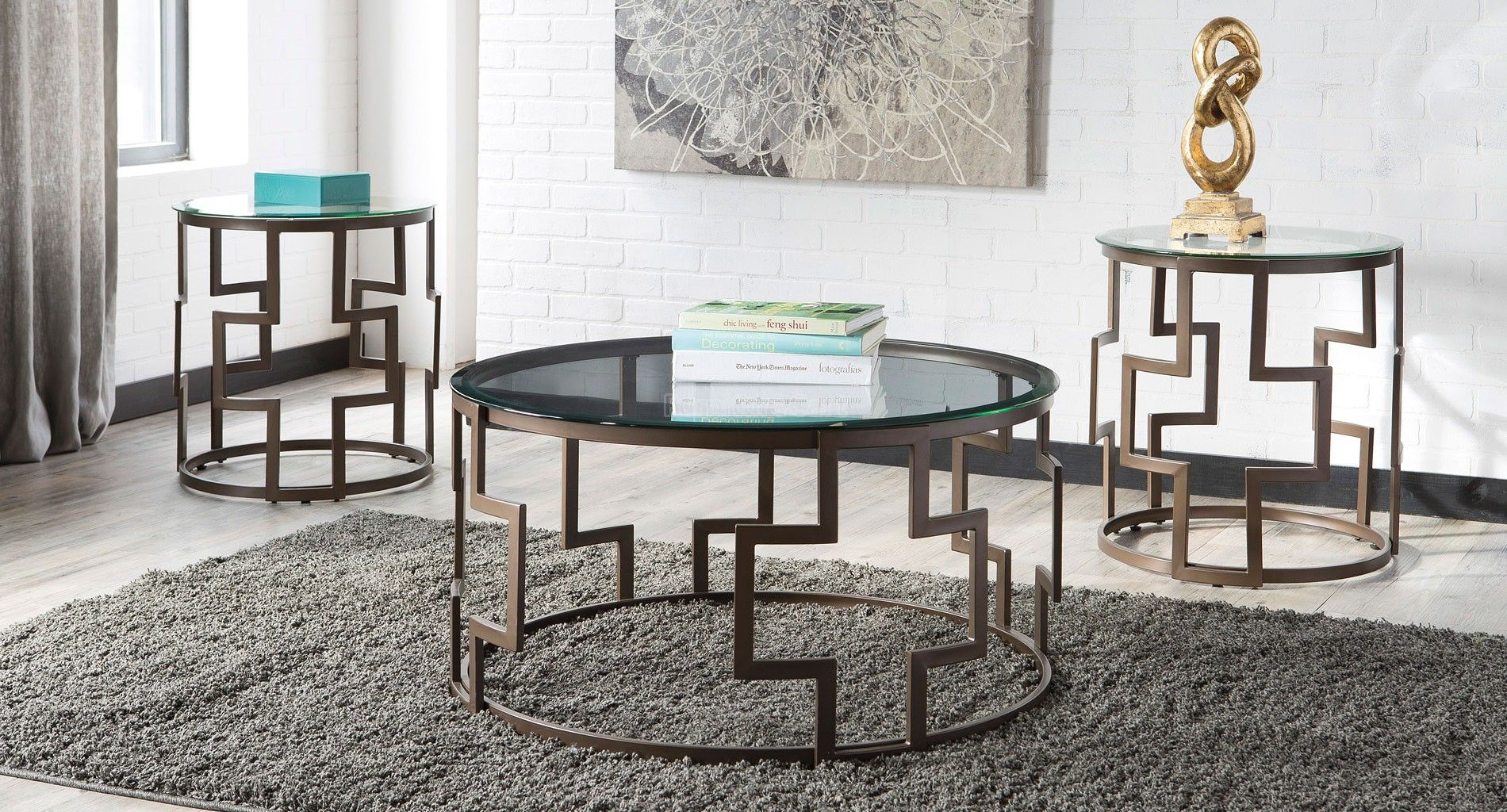 Frostine 3 Piece Occasional Table Set Living Room Table Sets