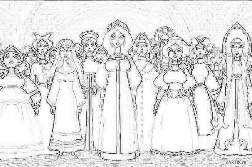 Картинки три богатыря и их жены карандашом большой части