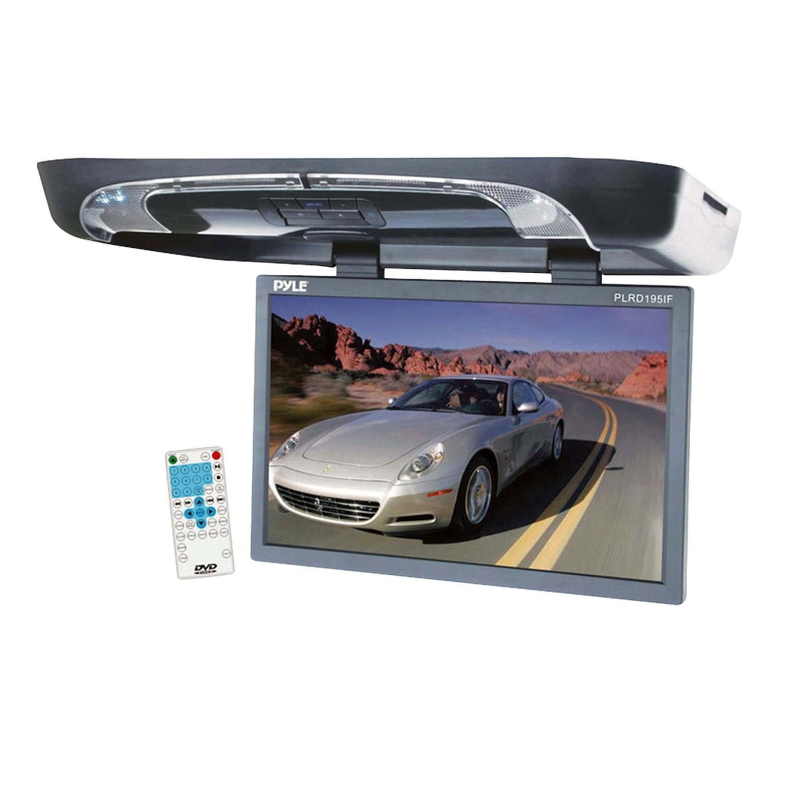 Pyle 19'' Flip Down with Built In DVD-SD-USB Player, Wireless FM- Modulator & IR Transmitter
