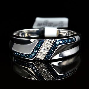 Mens White 14k Gold Gp Genuine Real Blue Diamond Ring Engagement