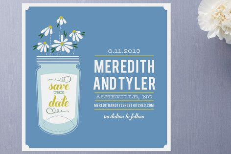 Wildflowers Mason Jar Save the Date Cards by Cheer Up Cherup at minted.com