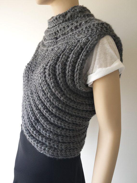 Crochet Katniss Inspired Cowl Vest Scarf / Charcoal por CraftyWanda