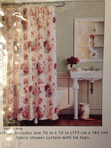 Waverly Vintage Rose Shower Curtain New