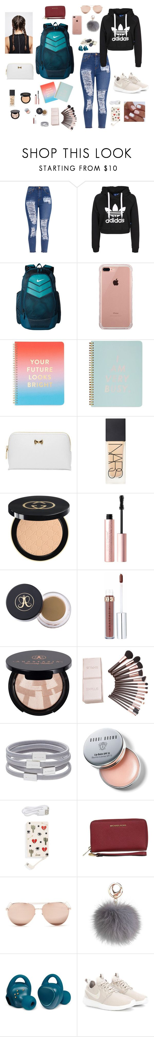 """""""sophomore year"""" by gabriellaallen on Polyvore featuring NIKE, Belkin, ban.do, Ted Baker, NARS Cosmetics, Gucci, Too Faced Cosmetics, Anastasia Beverly Hills, Witchery and Bobbi Brown Cosmetics"""