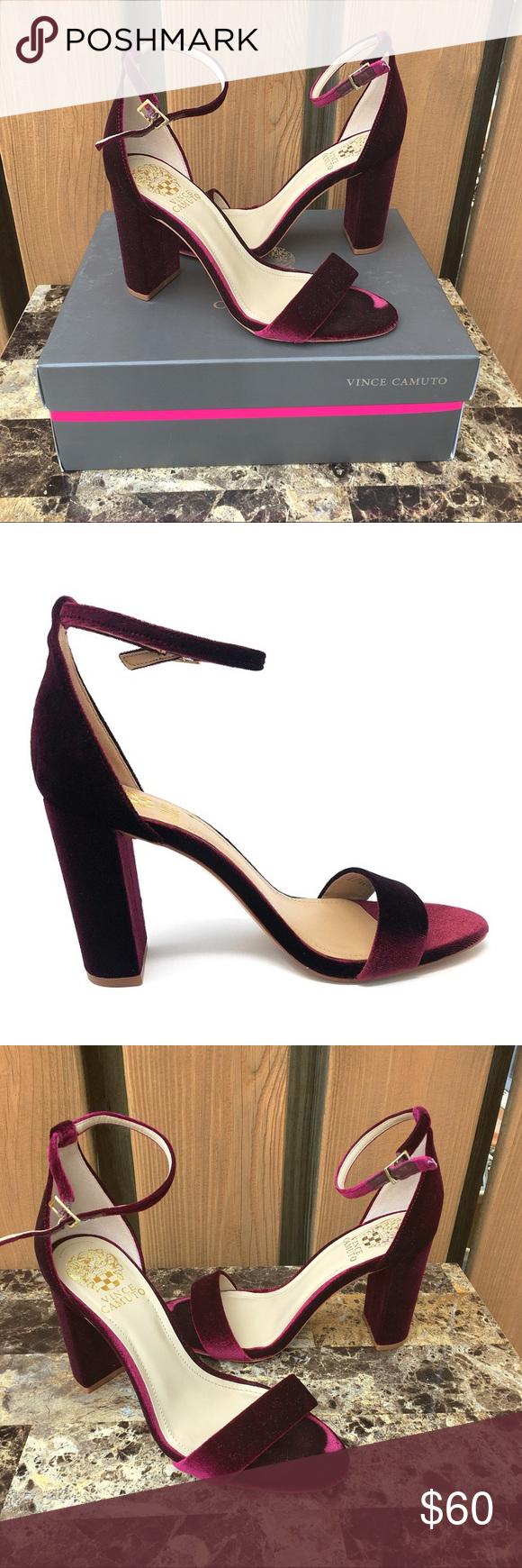 761b74b104ce Vince Camuto Berry Velvet Block Heels Vince Camuto block style heels in a  berry wine