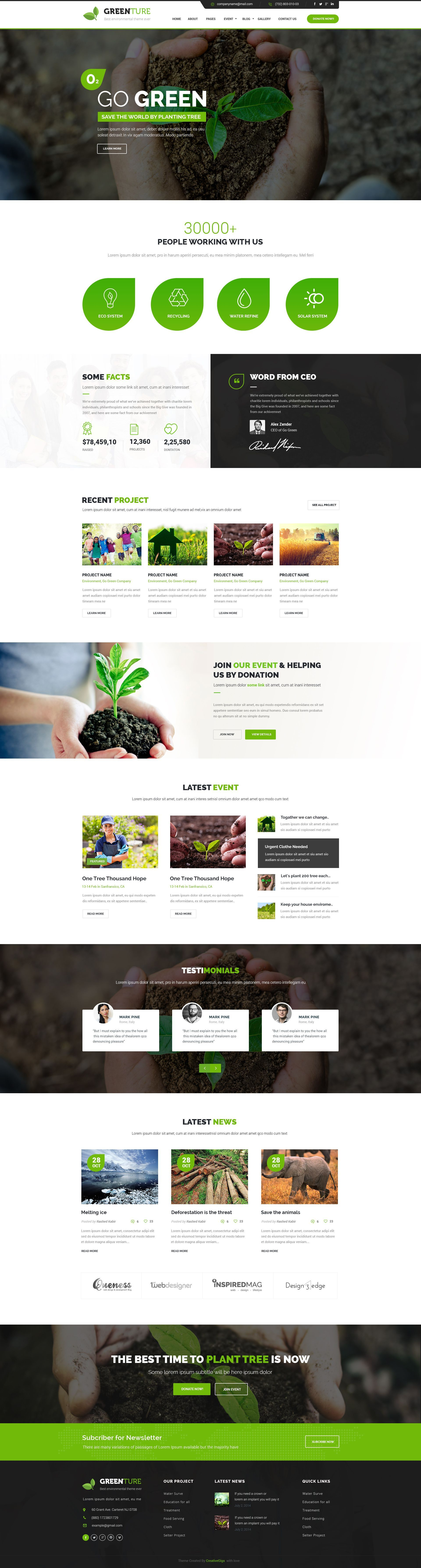 Greenture - Environment / Non-Profit PSD Template | Pagina web ...