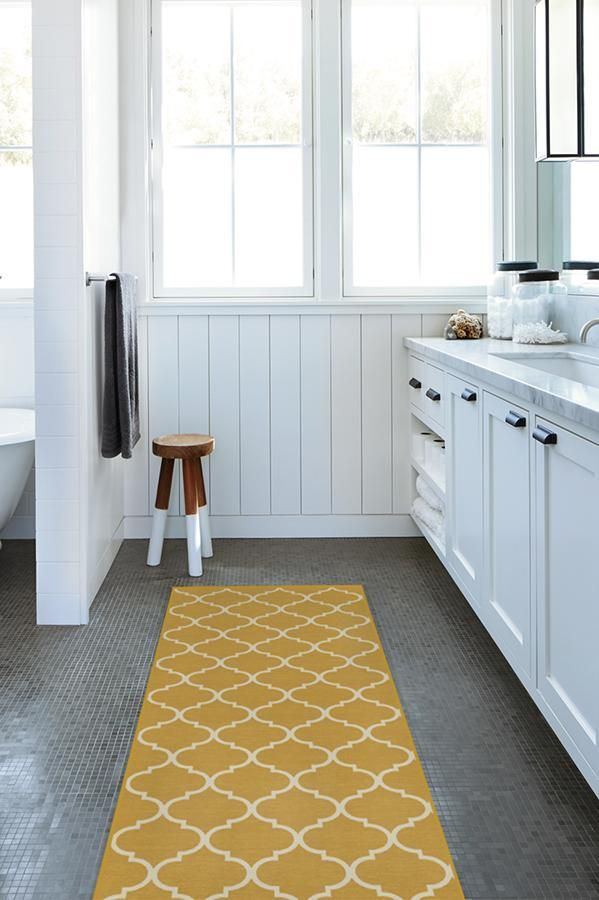 Contemporary Trellis Yellow Rug Rugs Black White Rug Washable