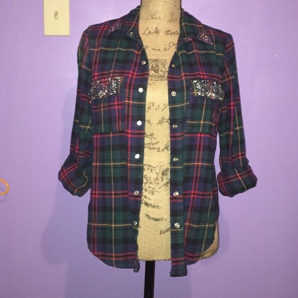 Hipster studded flannel Gently used, soft gems do not come off easily Dillards Jackets & Coats
