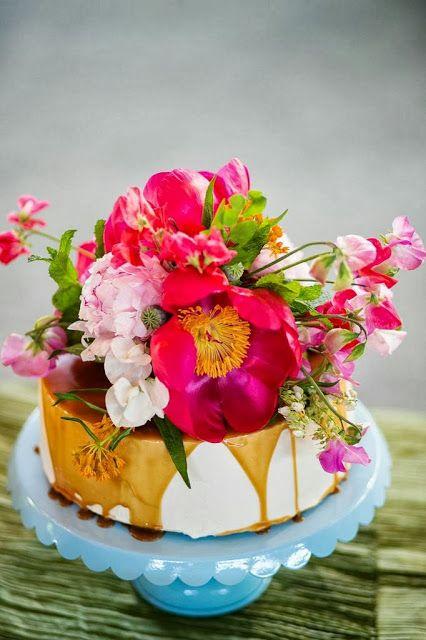 Bright flowers on cake.