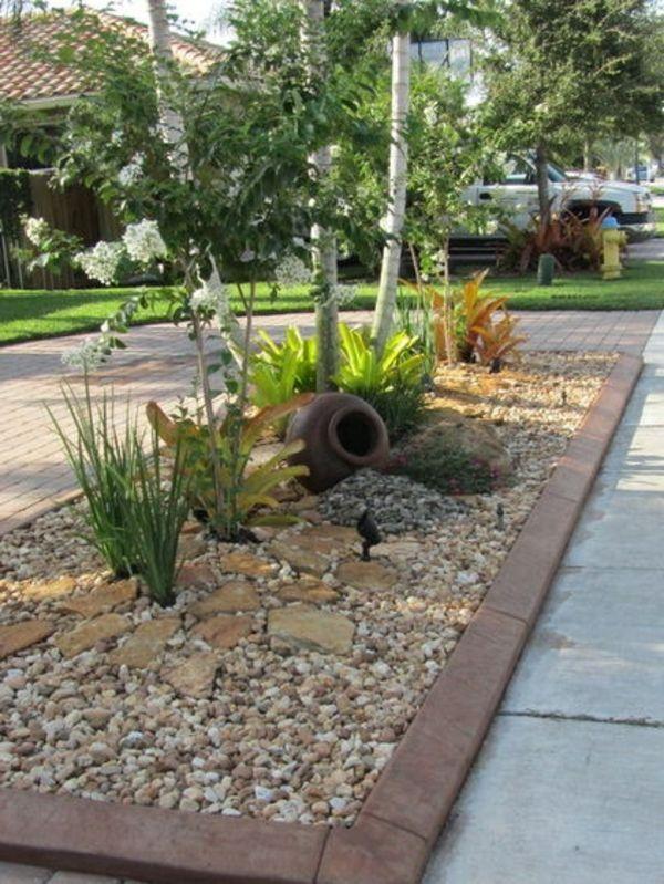 Vorgarten mit Kies gestalten - Bilder und Tipps für Sie Creative - garten mit grasern und kies