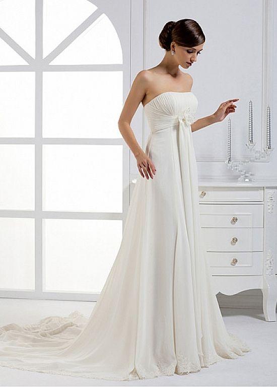 Graceful Chiffon A-line Strapless Neckline Empire Waist Bridal Gown ...