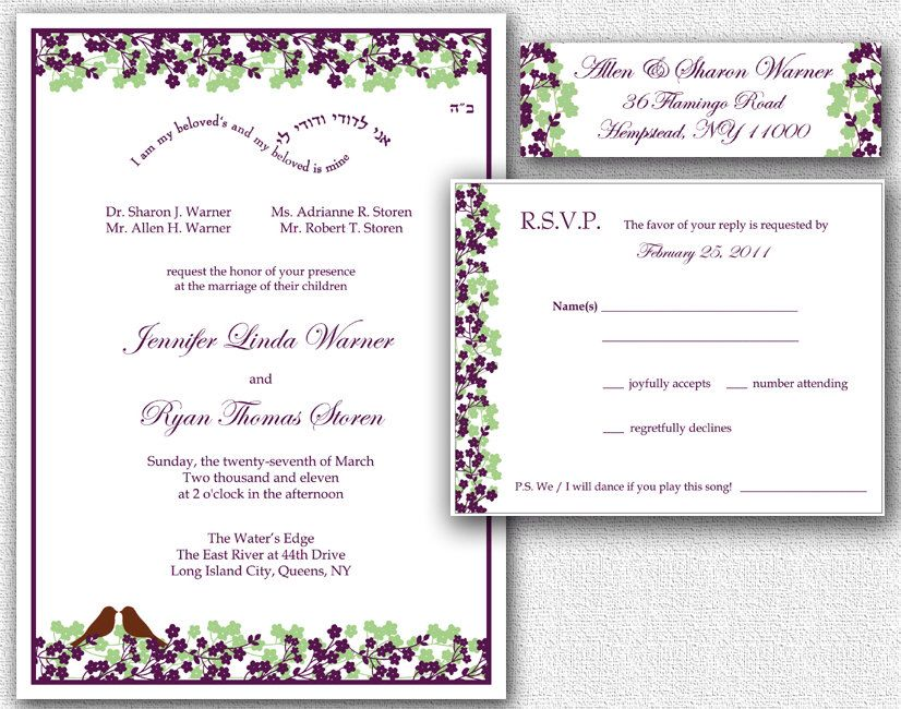 Wedding Invitation RSVP Card Return Address Labels Template Set - Wedding invitation templates: wedding address label template