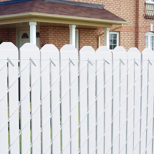 4 Vinyl Fence Slats White At Menards Fence Slats Backyard Fences Fence Design
