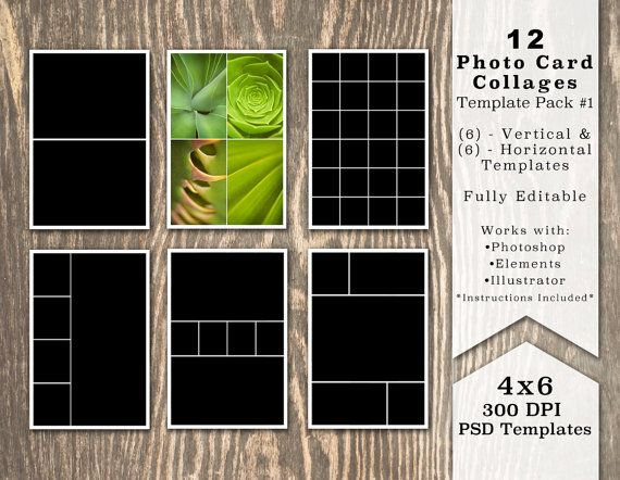 4x6 Photo Template Pack 12 Photo Card Templates Photo Etsy Collage Template Photo Template Photo Card Template