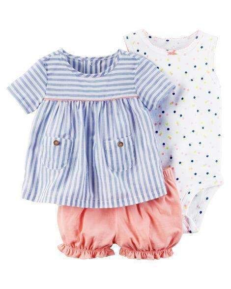 Cotton 3-Pieces Baby Girls Clothing Set Gold / 18M 2