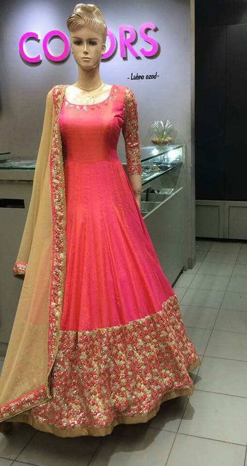 Eye Catching Pink Colour On Paper Silk Fabric That Grabs Attention Is An Optimal Party Wear With A Anarkali Suit Makes The Saree Look Flawless And