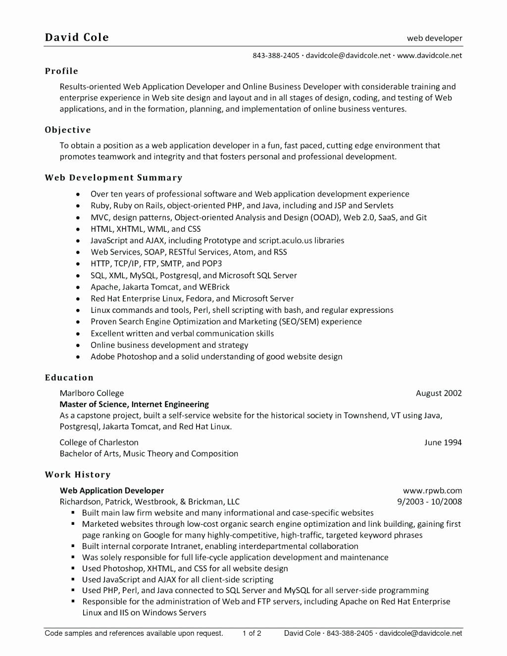 Cover Letter For Java Developer New 10 Web Developer Cover Letter Sample Web Developer Resume Web Designer Resume Resume Template Examples