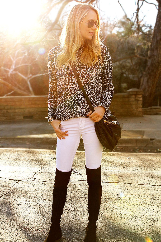 Vintage Havana Black & White Knit Sweater, White Skinny Jeans, Black Stuart Weitzman Over the Knee Boots #fashionjackson