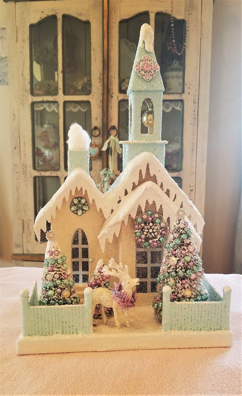Shabby Camper Cupcake Dessert Pink Kitchen Wreath Christmas Tree Ornaments Decor