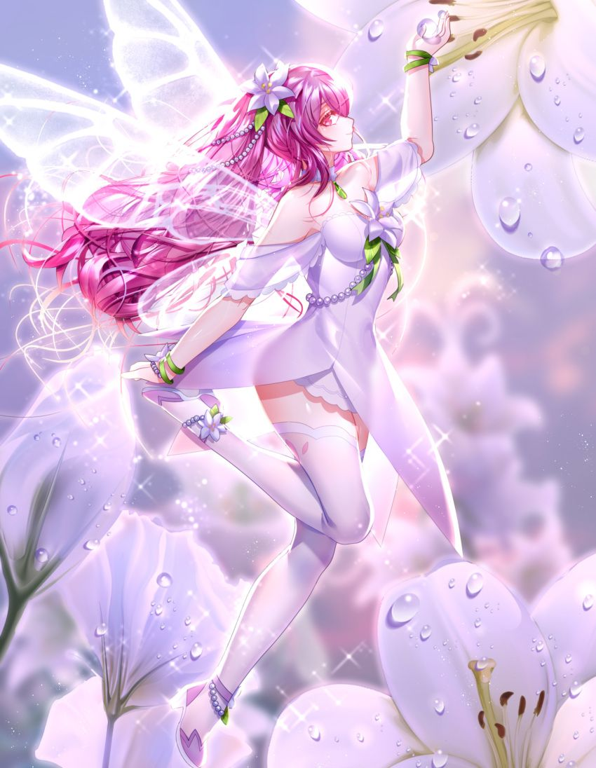 safebooru 1girl absurdres alternate hair color ankle flower anklet arm up bangs been blurry blurry background blurry flowers in hair pink eyes hair ornaments
