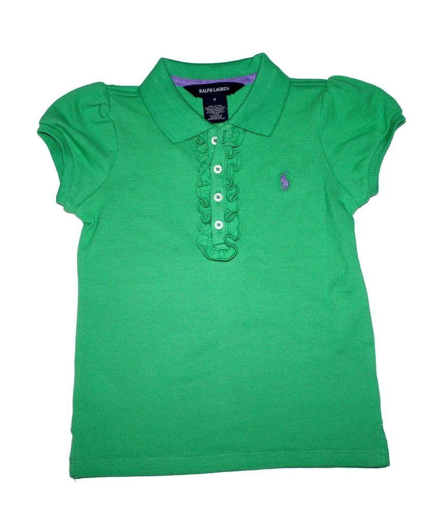 9df3e6e07 NWT Ralph Lauren Girls Short Sleeved Ruffle Polo Green Shirt Top Size 2T   RalphLauren  Everyday