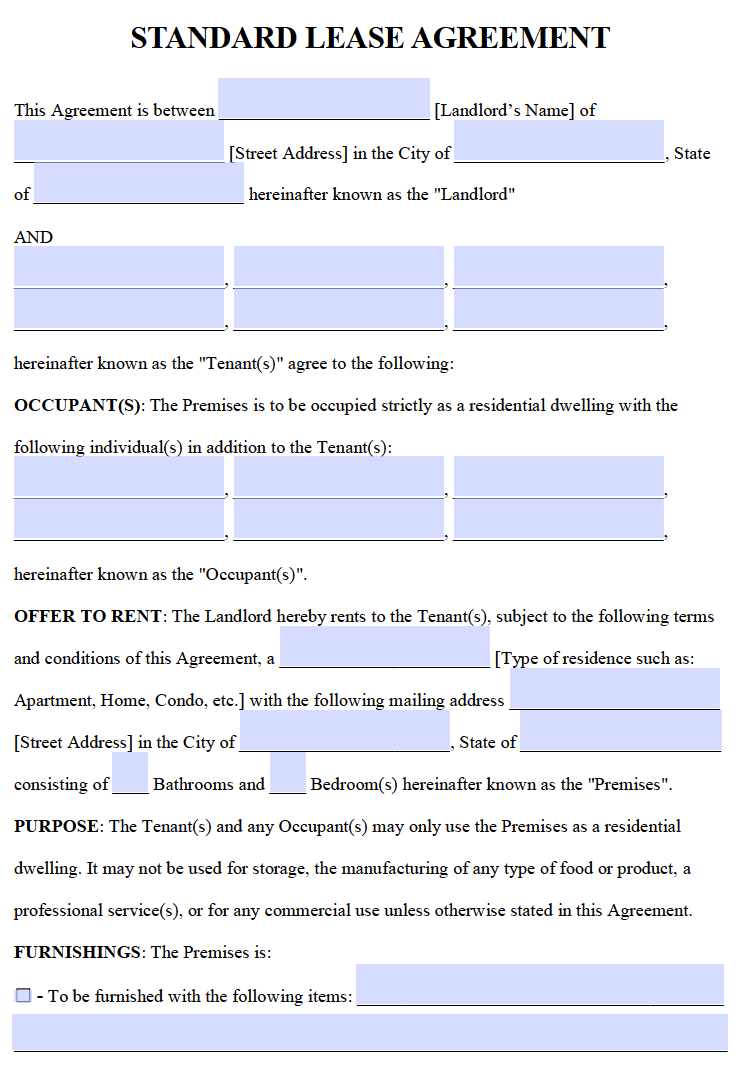 Free Residential Lease Agreements Pdf And Word Templates Rental Agreement Templates Lease Agreement Lease Agreement Free Printable