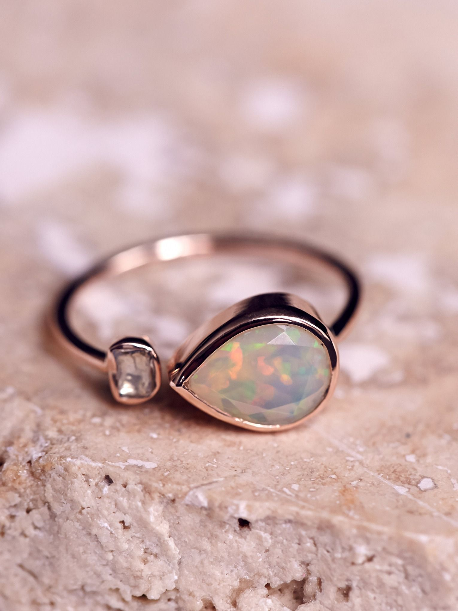 Free People Opal x Rose Cut Diamond Ring | Opals, Rose and Diamond