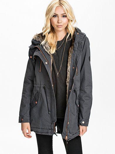 a9c00c89d99f Jane Canvas Parka - Only - Asphalt - Jackets And Coats - Clothing ...